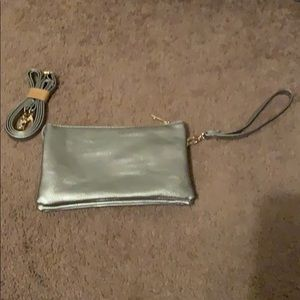 Genuine leather crossbody convertible clutch purse